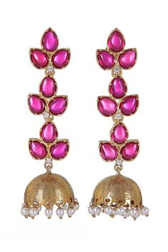 Pink Onyx Jhumki Earrings, Fashionable Earrings, Designer, Latest, Online http://www.designemporia.in/fashion-jewels-and-accessories-earrings/product-details/pink-onyx-jhumki-earrings-de14523.html