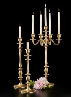 We love the modern shapes and rich golden looks of these candlesticks and the candelabra. The trio makes quite a striking pair. Surround it with our matching gold bowl and vases to complete the look for a wedding or event. For a softer look we like Candelabra Flowers, Candelabra Centerpiece, Crystal Candelabra, Candelabra Wedding Centerpieces, Vintage Wedding Centerpieces, Diy Wedding Decorations, Wedding Ideas, Rustic Wedding, Wedding Backdrops