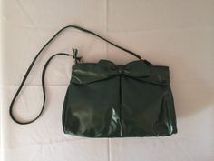 forest green messenger bag bow clutch by minminvintage on Etsy