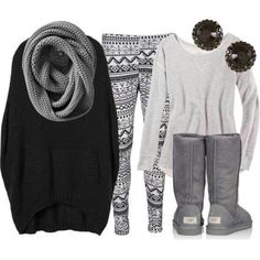 Love this comfy winter outfit! Wouldn't wear the sweater leggings.but maybe just leggings & for hanging around the house.or running errands. Look Fashion, Teen Fashion, Fashion Outfits, Womens Fashion, Fashion Trends, Fall Fashion, Cheap Fashion, Latest Fashion, Fashion Ideas