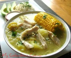 During this time of year it's really good to have a little bit of hot soup to get warmed. What better soup than Ajiaco Bogotano, one of the most popular dishes in Colombia. This soup's main ingred. Colombian Dishes, My Colombian Recipes, Colombian Cuisine, Cuban Recipes, Columbian Recipes, Soup Recipes, Cooking Recipes, Comida Latina, International Recipes