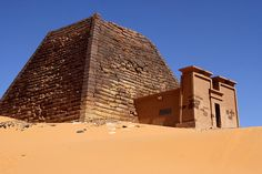 The Meroe Pyramids. The Meroe Pyramids are located in the North-East of Sudan near the banks of the Nile in the area commonly known as Nubia. There are close to two hundred pyramids in a relatively small area, the ancient burial site of the Merotic Kingdom (sometimes known as the Kingdom of Kush). The Pyramids are smaller than their Egyptian cousins but equally impressive due to their number Egypt