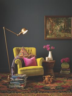Anya Brighouse writes about her two loves, wearing black and living in colour. Yellow Interior, Interior And Exterior, Interior Design, Home Decor Bedroom, Bedroom Wall, Feminine Office Decor, Basement Master Bedroom, Vintage Interiors, Bedroom Layouts