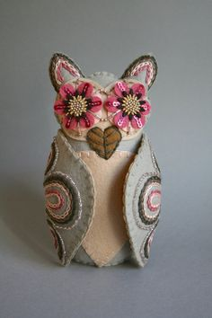 Embroidered Owl  Mexican Folk Art  Owl Doll por calaverasYcorazones