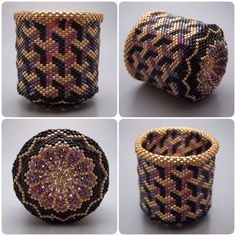 Optical illusion beaded basket collectible basket bead