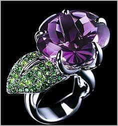 Chanel amethyst and tsavorites ring