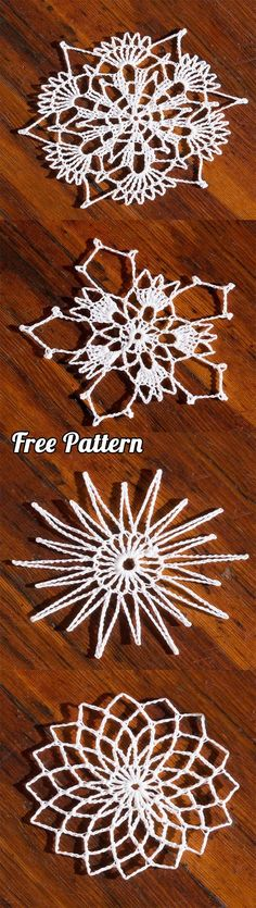 Crochet Snowflakes: Learn how to make 4 different types with free pattern | Crafts, DIY, Tutorial, Step by Step, Crochet Inspirations,ornaments, Christmas, Gifts, tree, decorations, crochet christmas decorations,crochet christmas decorations snowflake, crochet christmas snowflake, snow flake, coasters, crochet christmas coasters, crochet christmas garland, crochet christmas garland free pattern.