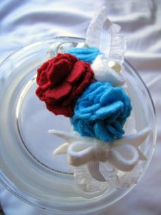 Red White and Blue Felt Flower Headband by Sweetlittleblossoms, $12.95