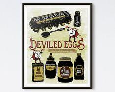 Illustrated Recipe  Deviled Eggs  Kitchen by DrunkGirlDesigns