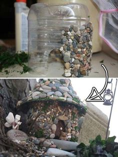 Plastic Bottle Stone Fairy House                                                                                                                                                                                 More