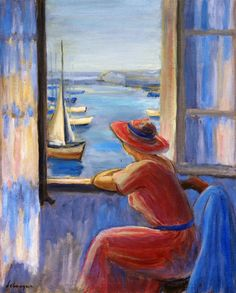 """Henri Lebasque, """"In Front of the Window Ile d'Yeu,"""" 1919."""