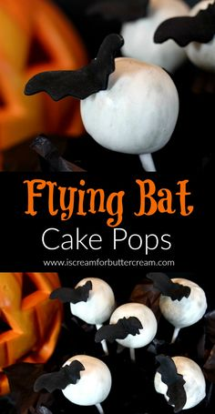 These Flying Bat Cake Pops will be a hit at your Halloween party. It doesn't get much cuter than cake pops that look like a moons with bats flying over. via @KaraJaneB