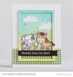 Farm Friends Stamp Set and Die-namics, Stitched Rectangle Scallop Frames Die-namics, Stitched Fishtail Flags STAX Die-namics, Cloud 9 Die-namics, Blueprints 30 Die-namics - Melania Deasy  #mftstamps