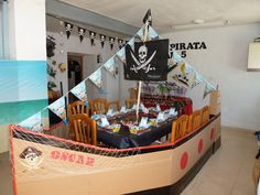 Pirate party - too cute! Pirate Birthday, Pirate Theme, Boy Birthday, Caribbean Party, Peter Pan Party, Kids Party Decorations, Party Ideas, Deco Table, 4th Birthday Parties