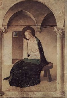 Beato Angelico  (circa 1395–1455), Annunciazione del corridoio nord, dettaglio: la Vergine annunciata, 1442- 43, affresco,  Museo Nazionale di San Marco, Firenze