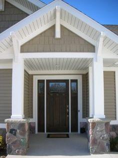 craftsman style front door and porch Craftsman Exterior, Craftsman Style, Exterior House Colors, Exterior Paint, Siding Colors, Porch Styles, Cedar Homes, Front Door Design, House Front