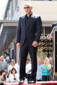 Vin Diesel at the Hollywood Walk of Fame. Styled by Evet Sanchez. Diesel Fuel, Vin Diesel, Hollywood Walk Of Fame, Black Suits, Suit And Tie, Hot Guys, Hot Men, Well Dressed, Suit Jacket