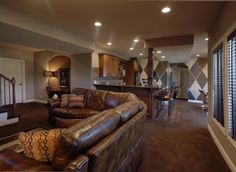 leather couch/sectional with good colors for walls.  Can do tiles, backsplash, and cabinets in complemetary colors