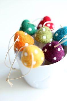 needle felted jewelry | Needle felted mushroom ornaments. by samanthasam