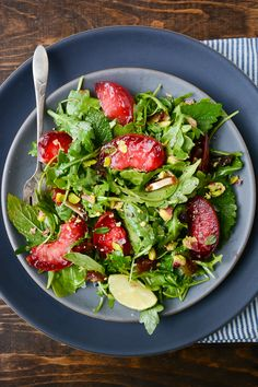 plum, date, and pistachio salad with ginger lime dressing