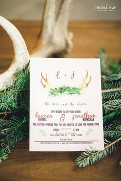 Christmas Winter Barn wedding Antler Wedding Invitation.  We love all the lovely winter touches they used for their special day.  From vintage lounge areas with plaid to antlers and greenery to lawn games.  Photos by Trisha Kay Photography.from rentmydust.com