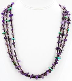 $280 Tag-AUTHENTIC 3 Strand C Little Navajo .925 NEVADA Turquoise-AMETHYST 9804