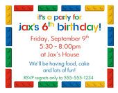 Lego Birthday Party Inviations