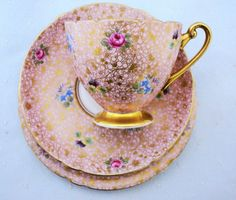 SHELLEY ROSE PANSY FORGET ME CHINTZ TEA CUP AND SAUCER TRIO