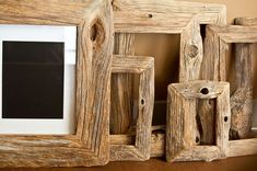 Reclaimed Wood Frames: I was thinking this weekend it would be neat to make a tripod lamp from beach wood.