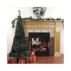 Artificial Christmas Tree Pre Lit Pop Up Green Leaf 350 Clear Lights 7.5 Feet