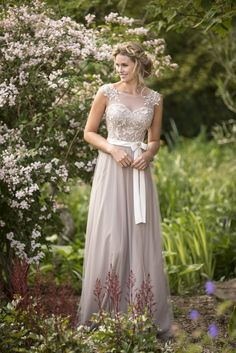 Illusion Neck Lace Appliqued A-line Pink Tulle overlay Satin Bridesmaid Dress with Ribbon_2