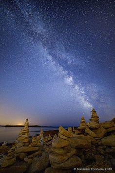 Trolls's Houses Under Milky Way - Brittany, France