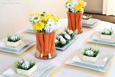 Spring-Inspired Easter Tablescape and Flower Centerpiece with Carrots