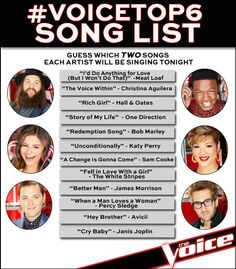 #VoiceTop6 goes live one hour and we've got the leaked song list! Guess what TWO songs each artist will be performing tonight.