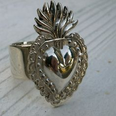 Your Personal Miracle, the Peruvian sterling silver milagro ring flaming heart love ring Heart Jewelry, Jewelry Box, Jewelery, Silver Jewelry, Vintage Jewelry, Memento Mori, Love Ring, Felt Hearts, Sacred Heart