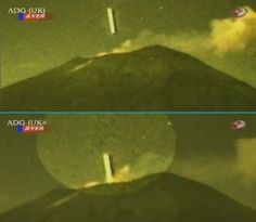SOURCE SCIENCE - OVNI.E-MONSITE.COM......This event, reported October 27, 2012, took place recently at about 70 km southeast of Mexico City, at the foot of the volcano Popocatepetl. UFO would measure 200 meters wide and 1 km long! Above all, the object to be manufactured in very resistant material, because at that time, the volcano spewed lava...........