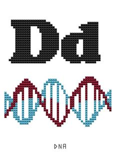 Modern Cross Stitch Kit - Human Body Parts - Alphabet - D for DNA Anatomical letters