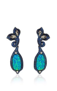 Black Opal And Sapphire Floral Earrings by SUTRA for Preorder on Moda Operandi