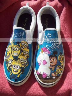 Despicable Me Minion Agnes and Unicorn Low-top Painted Canvas Sh,Low-top Painted Canvas Shoes