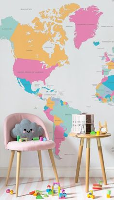 On the lookout for fun wallpaper ideas? This bright and wonderful map wallpaper mural is both beautiful and educational. Teach your child about the world in the funnest way possible with this stylish map mural.