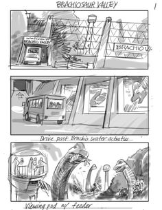 Jurassic World Storyboard Art Reveals Unused Concepts and Incredible Dinosaur Attractions