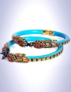 #Bangles, #Bracelets & #Kadas - Red & Blue Meenakari Bangles (Set Of 2) costs Rs. 825. #Jewellery. BUY it here: http://www.artisangilt.com/jewellery/bangles-bracelets-kadas/red-blue-meenakari-bangles.html?ref=pin