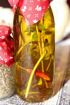 Extra virgin olive oil with home-grown basil and chili