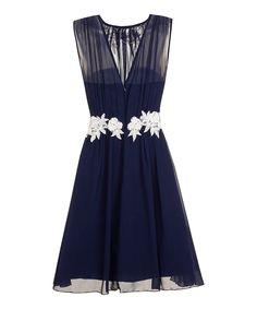 Little Mistress Navy & Cream Floral Fit & Flare Dress