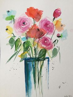 Floral Print featuring the painting Roses In Glass Vase by Sandra Strohschein Watercolor Sketch, Abstract Watercolor, Watercolor Flowers, Watercolor Paintings, Painting Flowers, Watercolours, Flower Bouquet Pictures, Bouquet Flowers, Guache