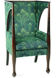 Glasgow School Porter's Chair. Mahogany with Liberty & Company Peacock Feather Fabric Upholstered Sides, Back & Seat. Glasgow, Scotland. Circa 1905.
