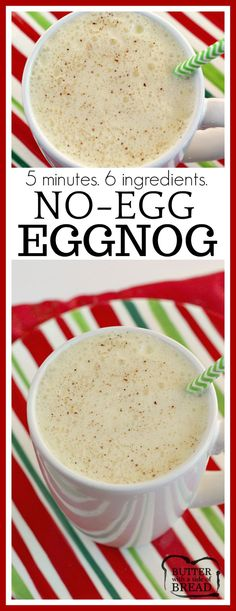Easy No-Egg Eggnog can be made quickly in a blender with French vanilla pudding, milk, whipped cream and a few other basic ingredients! Easy #eggnog #recipe for #Christmas #holidays from Butter With A Side of Bread #beverage #drink #mocktail