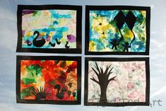 "Exploring the four Seasons with Kids. Beautiful ""stained glass"" windows from Red Ted Art"