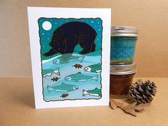 Bear Fishing in the Moonlight Card Hand Silkscreened Screen Printed