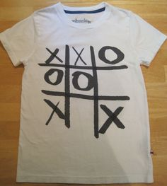 Johnnie B~Boden~Boys~Size XS 9 10~White Tic Tac Toe~Short Sleeve Tee Shirt #MiniBoden #Everyday